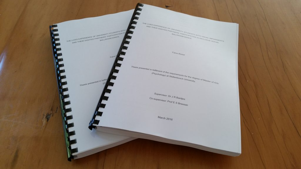 Qualifications: My MA thesis - printed, bound and ready for submission in March 2016. In total, 3 years and 165 pages of blood, sweat and tears (many, many tears).